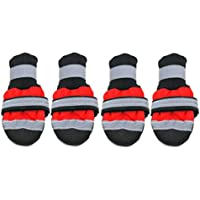 DoMoment Zapatos para Mascotas de Invierno Botas Reflectantes Impermeables Botas antirresbaladizas de Lluvia Botas de Nieve Calzado Calcetines Gruesos cálidos Botines para Gatos Perros