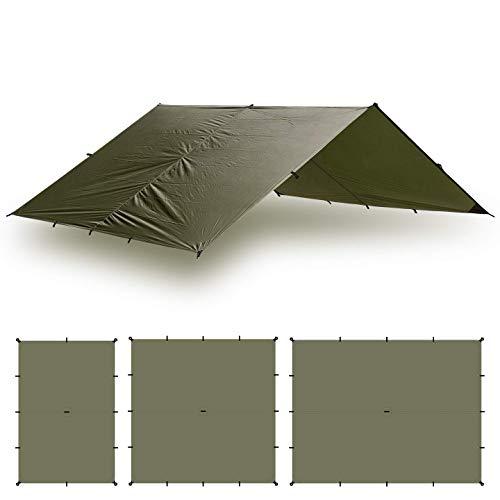 Aqua Quest Guide Sil Tarp & Zubehör Kit - 100% Wasserdicht - 4 x 3 m Groß - Grün oder Olivgrün (Olivgrün)