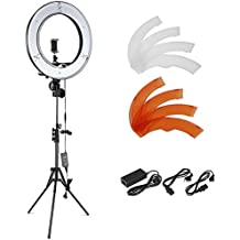 Neewer - Kit de Iluminación para foto y vídeo - LED Anillo de Luz, Soporte de Luz, Receptor de Bluetooth, 48 cm, Exterior 55W 5500K regulable