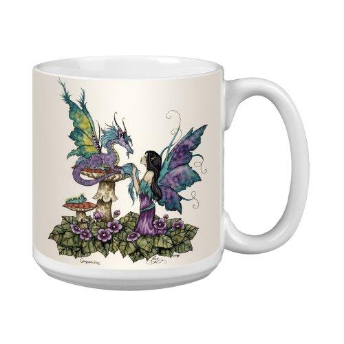 Tree Free Grußkarten, 20 oz Fantasy Gefährten Drachen und Elfe Amy Brown, Artful Jumbo Becher/Tasse, bunt
