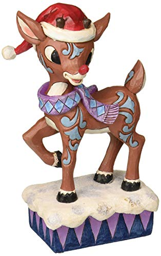 ENESCO Jim Shore Rudolph Wearing Santa Hat Light Up Nose Christmas Figurine 4058340 New
