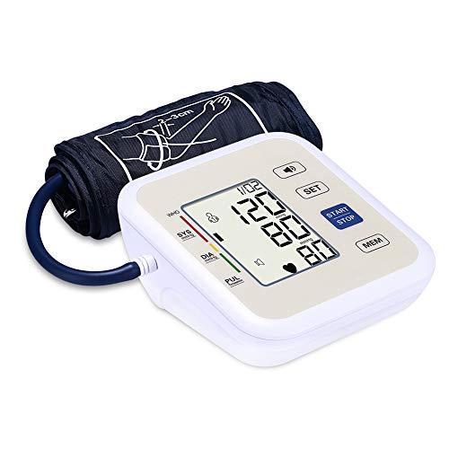 Yuehg Elektronischer Blutdruck Monitor Präzise und Tragbar mit Digital LCD Display Echte Stimme 2 * 99 Speicherfunktion,White