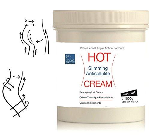 HOT CREAM Sport und Anti-Cellulite Creme 1000 ml zur Verbesserung der Haut Kontur, mit angenehmen Wärme-Effekt und erfrischenden Duft, enthält Zimt und Algen● bleumarine Bretania, made in France (Zimt-gelee)