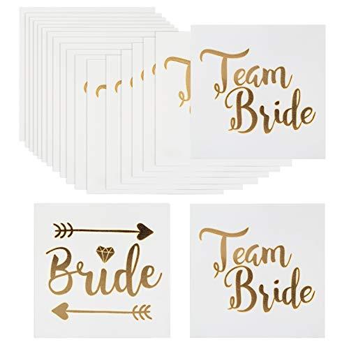 Naler tatuaggi addio al nubilato d'oro 18 team bride + 2 bride tatuaggi temporanei per sposa e amiche decorazione per serata addio al nubilato