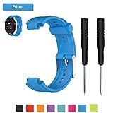 Pour Garmin Forerunner 25 GPS Running Bracelet, remplacement Bracelet accessoire sangle en silicone souple Classic Sports Band Bracelet réglable, parfait pour homme, femme ou Couple (Blue/Female)