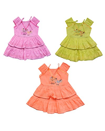 JBN Creation Baby Girls Multicolour Cotton Frock Set of Three Combo (Size: 12-18 Months)