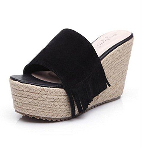 BaiLing Damen-Sommer-Pantoffeln / Wedge-Ferse handgefertigte gestrickte Stroh wasserdicht / dicken Boden / Scrub kleine Größe weibliche Sandalen Schuhe Black