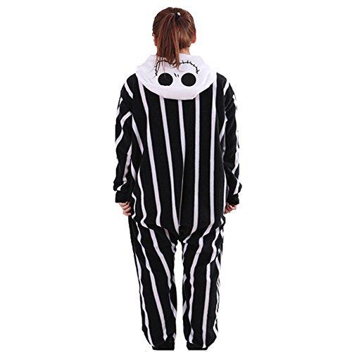 Imagen de disfraz de pesadilla antes de navidad, jack skellington, esqueleto, mono, para hombres y mujeres adultos, unisex, animal, kigurumi, cosplay, pijama, nonopnd, de una pieza, disfraz de halloween, prenda de vestir alternativa