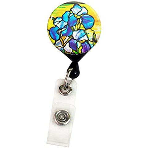 Henry the Buttonsmith Tiffany Iris Deluxe Retractable Badge Reel With Pin Back and Extra-Long 36 inch Standard Duty Cord - Made in the USA, 1 Year Warranty by Henry the