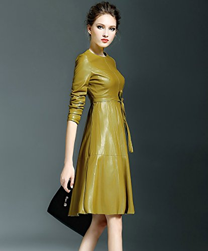 LAI MENG Women's Faux Leather Long Sleeve Fit-and-Flare Cocktail Midi Dress Giallo