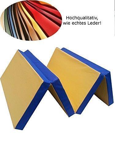 Tapis de gymnastique Tapis de sol Tapis de sol souple pliable 200 x 100 x 8 cm Jaune/Bleu