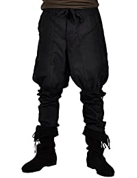 Trousers Medieval Men Lower Leg Lacing Large Pockets Button Facing and Drawstrings Black