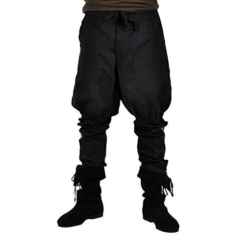 Hose Mittelalter Herren Unterbeinschnürung große Eingrifftaschen Knopfleiste u Kordelverschluss schwarz - XXL (Kostüme Für Mittelalter)