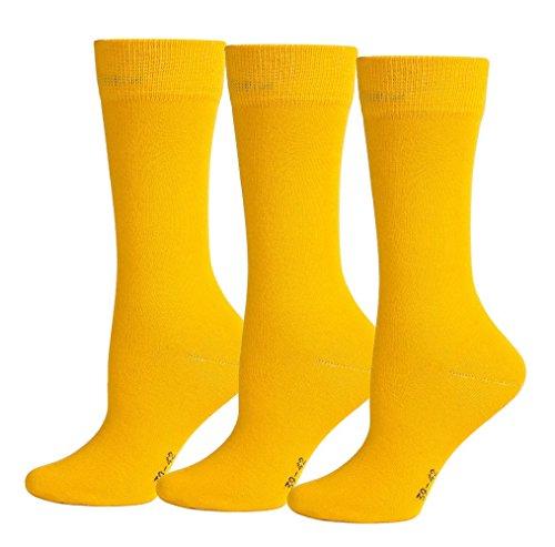 3er Pack Business Socken Gelb, 43-46 (Aktive Socken Nahtlose)
