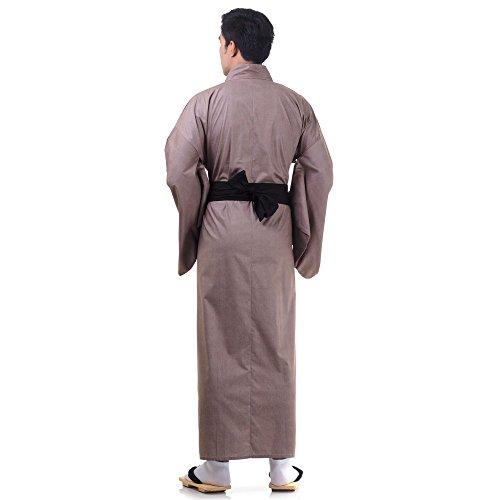 Japanischer Herren Yukata Kimono Baumwolle One Size M L XL Braun - 3