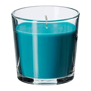 IKEA SINNLIG Scented candle in glass, Beach breeze, turquoise blue colour Candle by SINNLIG