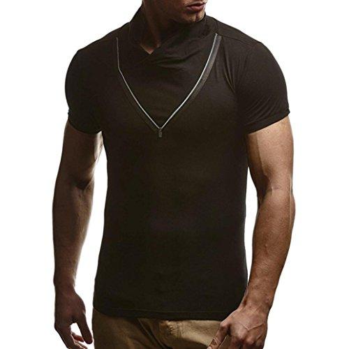 Huihong Herren Slim Fit Shirt Sommer Reine Farbe Reißverschluss Ärmel  T-Shirt Basic Kontrast Bluse (Schwarz, 3XL) -