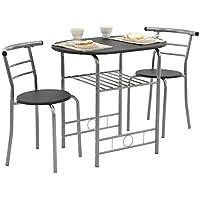 [en.casa]® Set bistro - Juego de muebles de jardín - mesa con 2 sillas - negro/plata - hierro - MDF