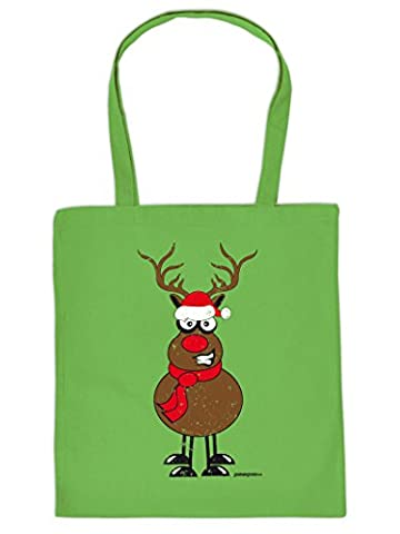 Geschenke Verpackung zu Weihnachten Stoffbeutel RENTIER RUDOLPH mit der roten Nase Advent Beutel : )