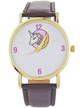 Souarts Damen Armbanduhr Einfach Stil Einhorn Muster Analoge Quary Uhr mit Batterie Braun