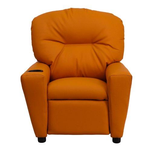 """Flash muebles contemporáneo Beige vinilo niños reclinable con portavasos, Naranja, 39""""D x 24.5""""W x 28""""H"""