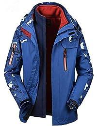 787fa60046d JBHURF Camuflaje de otoño e Invierno más una Chaqueta Transpirable  Impermeable al Aire Libre Gris para Hombres…