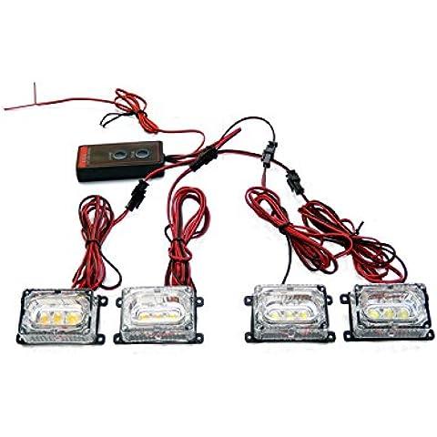 biaochi coche automático ultra slim LED 6modos de Flash 12V 3W linterna de emergencia de seguridad de peligro Grill Dash cubierta Barra de luz estroboscópica lámpara km607