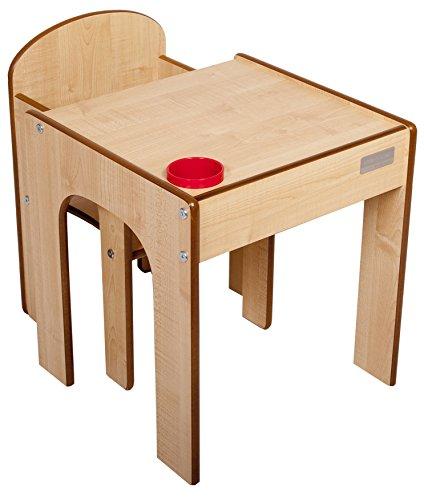 Little Helper Originale FunStation Gessati Bambino Set Banco e Sedia con la Penna / Spazzola Pot (Maple /