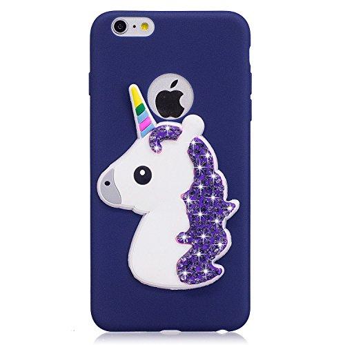 iphone 6 Hülle, iphone 6s Schutzhülle Unicorn, 3D Niedlichen Einfarbig Muster Design Handy Hülle für iphone 6 6s (4.7 Zoll), Ultra Dünn TPU Weich Silikon Handycover Schale Schutzhülle Ultradünnen Etui Jachthafen