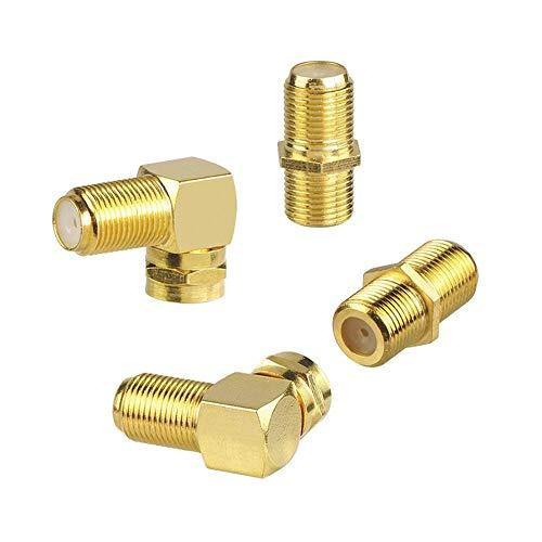 VCE 4 Stück F-Verbinder Buchse/Buchse Sat Kupplung Adapter und F-Stecker/Buchse Winkeladapter Winkel-Sat-Adapter Vergoldet für Sat Kabel, Koaxialkabel, Satellitenkabel