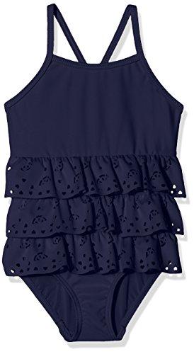 NAME IT Baby-Mädchen mini Badeanzug Nmfzulisa Swimsuit, Blau (Peacoat), Gr. 98/104 (3/4 Jahre)