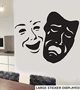 Theatre Mask Wall Art Vinyl Stickers - Black - Large 110cm x 86cm by Stickers on Your Wall