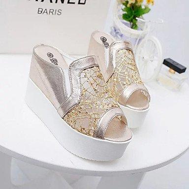 LvYuan Damen-Slippers & Flip-Flops-Kleid Lässig-PU-Keilabsatz-Komfort-Schwarz Silber Gold Silver