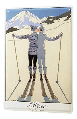 Blechschild Sport Paar Skifahren Deko Wand Schild 20X30 cm