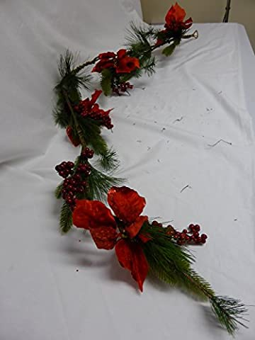 5ft Christmas Poinsettia And Red Glitter Mini Berry Garland