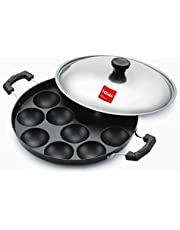 Tosaa Non-Stick 12 Cavity Appam Patra Side Handle with lid