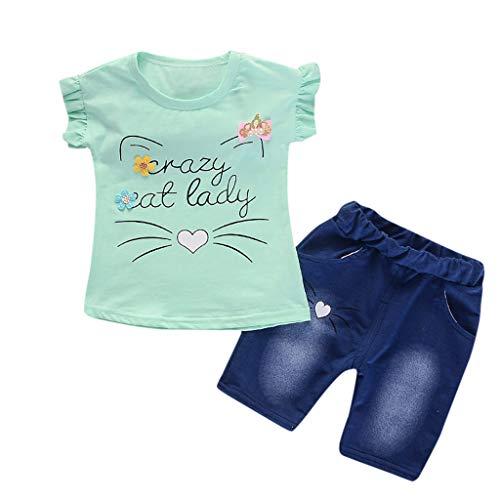 Daoope bambino abbigliamento elegante completo ragazza abbigliamento bimbi estate 18 mesi bambini manica corta cartoon gatto coniglio fiocco stampa top + pantaloncini in denim set