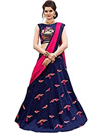 Dharmi Fashion Women's Silk Lehenga Choli (Blue_Free Size, Semi-Stitched)