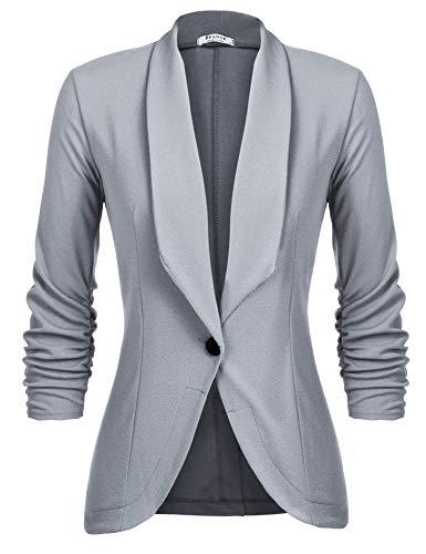 Unibelle Damen Blazer Cardigan Dünn 3/4 Längere Elegant Leicht Bolero Jacke Blazer Slim Fit Anzug Trenchcoat , Aa-hellgrau, 40(Herstellergröße:L)