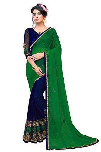 Glory Sarees Women's Chiffon Saree(panihari105_green_blue)