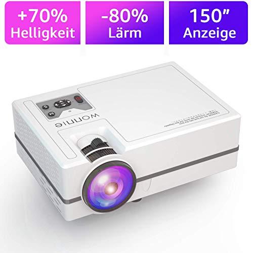 WONNIE Mini Beamer, 2200 Lumen LED Video Projektor HD Heimkino 1080P Unterstützung kompatibel iPhone / iPad / Laptop / TV-Box, Unterstützung Schnittstelle HDMI / VGA / SD / USB / AV / Ear