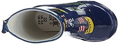 Playshoes Kinder Halbschaft-Gummistiefel aus Naturkautschuk, trendige Unisex Regenstiefel mit Reflektoren, mit Piraten-Muster