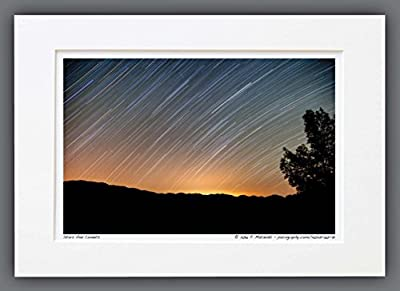 140421-60-71 Stars And Comets. A3 Matted Fine Art Photograph, Star Trails - Time Lapse. Best for Home and Office Wall Art Room Decor.