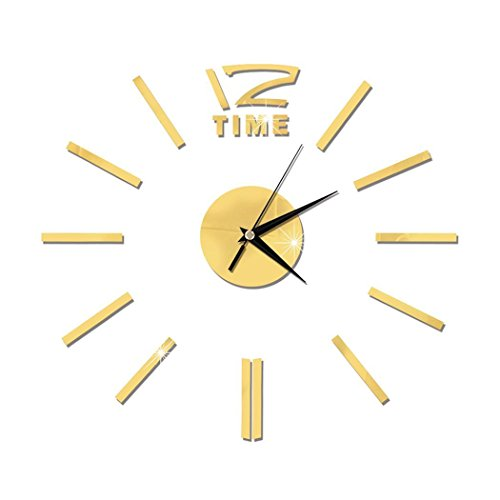 (melysEU DIY Wanduhr Moderne Clock 3D Acryl Spiegel Metall Rahmenlose Wandaufkleber Uhren Style Raum Home Dekorationen Tolles Geschenk)