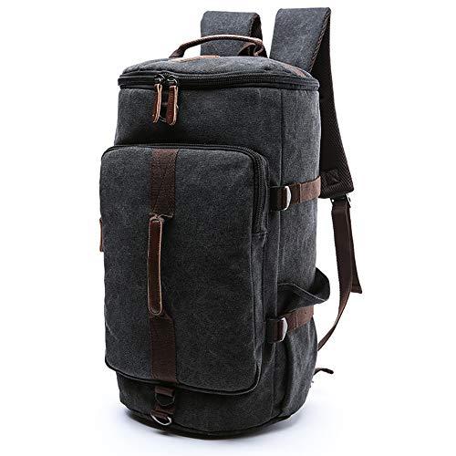 HYwot vertikale Quadrat europäischen und amerikanischen Stil Reise Leinwand Tasche im Freien große Kapazität Runde Eimer Rucksack Student Tasche geeignet für Outdoor, Reisen, Schule,Black,S -