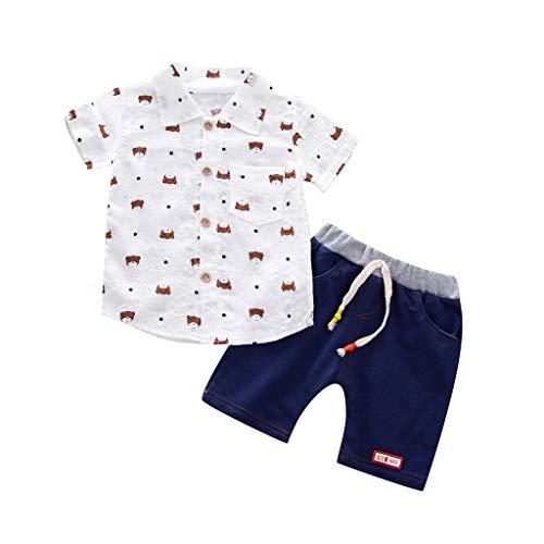JUTOO 2 stücke Kleinkind Baby Jungen Sommer Gentleman Kurzarm Druckhemd + Shorts Hosen Sets (Weiß 1,110)