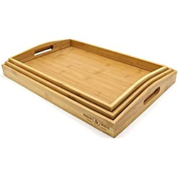 Set of 3 Bamboo Trays   Wooden Serving Tea & Breakfast Platter With Handles M&W