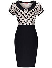 SSITG Damen Sommer Polka Punkt Rockabilly Party Puppe Kragen Etui Cocktailkleid 36-44