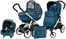 Cochecito Combi [babyschale + cochecito + Sportwagen] portatil 51Pop Up Peg Perego Saxony Blue