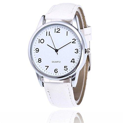 SamMoSon Jungen Elegant Edelstahl Uhr Mädchen Uhren Armbanduhr Sports Uhren Geschäfts Klassisch Analog Quarz Dünn Armbanduhr Gents Luxus PU Leder Armband (Weiß, Freie Größe)